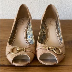Coach Shoes - Leather, tan wedge. Well worn.